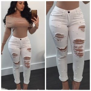 ❥ Boutique Distressed Bling & Pearl White Jeans